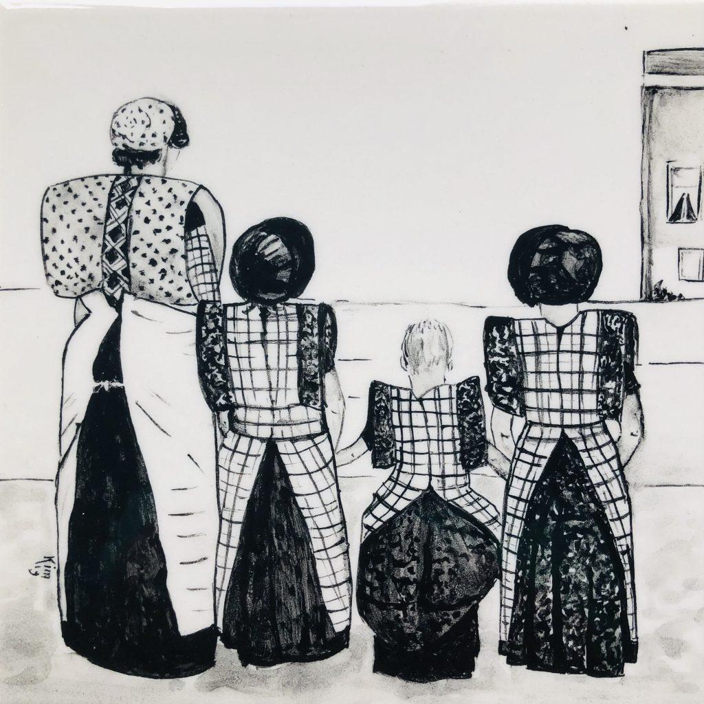 Darpse tegel Familie (zwart wit)