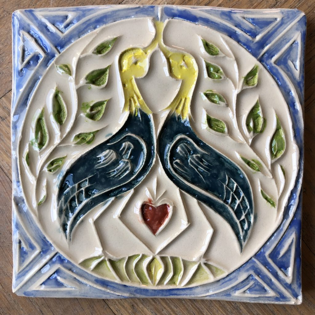 Lovebirds cloisonne tegel