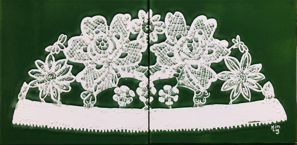 Ongermuts donker groen 2 tegels