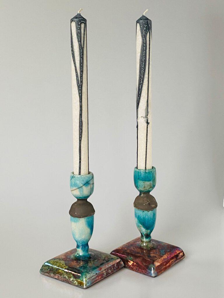 Kandelaars turquoise Raku