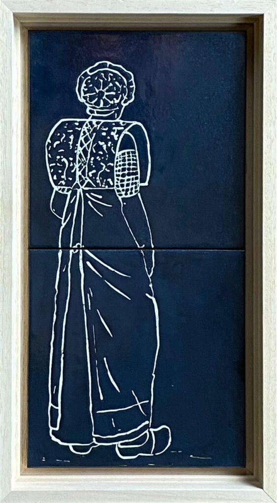 Tegeltableau klederdracht blauw